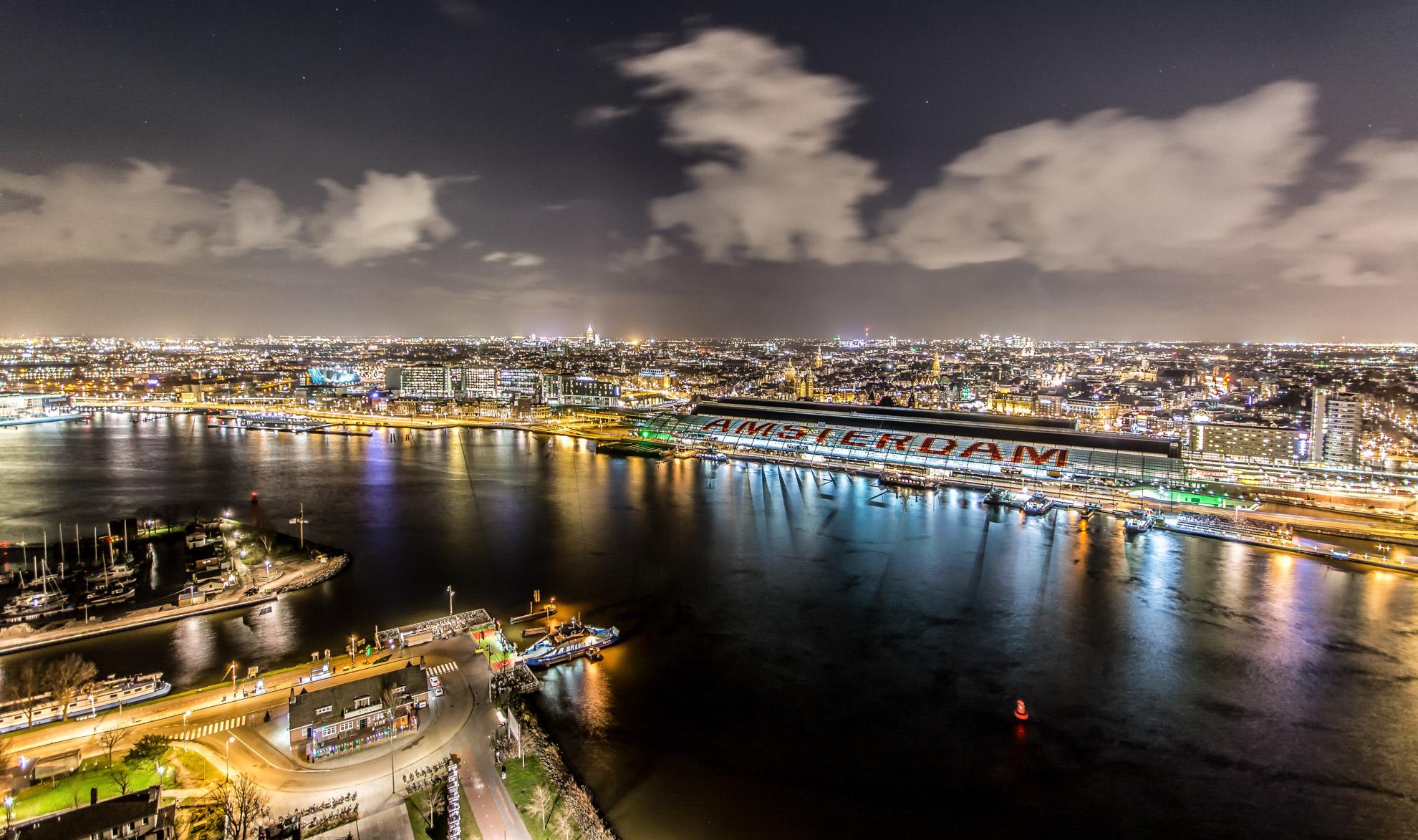 Over Nachtelijk Amsterdam, avondfotografie Amsterdam, avondfoto's Amsterdam, nachtfotografie Amsterdam, On top of Amsterdam